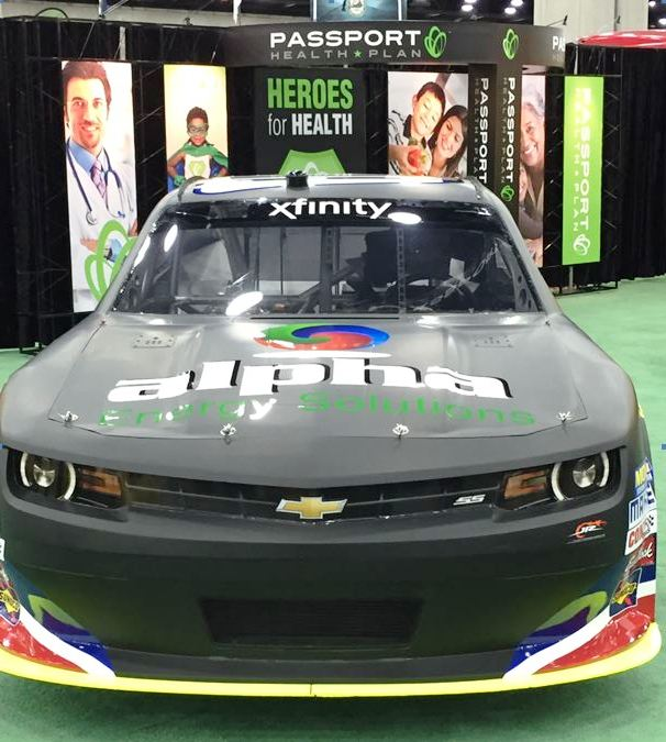 The #88 at Passport Health Plan's booth at the Kentucky State Fair
